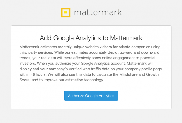 post image for Verified Web Traffic — Connecting Google Analytics to Your Startup's Profile on Mattermark
