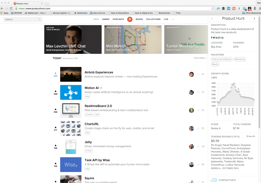 product hunt mattermark chrome screenshot