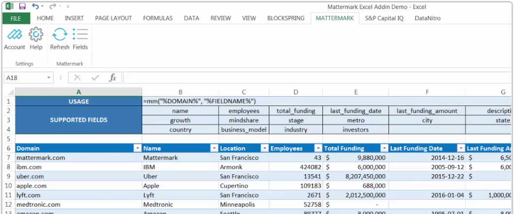 post image for Mattermark Product Updates – Integration with Excel for Windows and Product Hunt